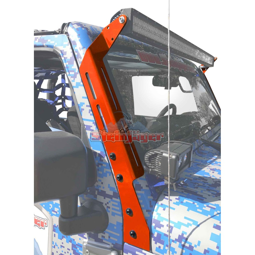 Steinjager Jeep Wrangler Jk Led Lights And Brackets 2007 2018 A Pillar Mount Brackets Only Red Baron